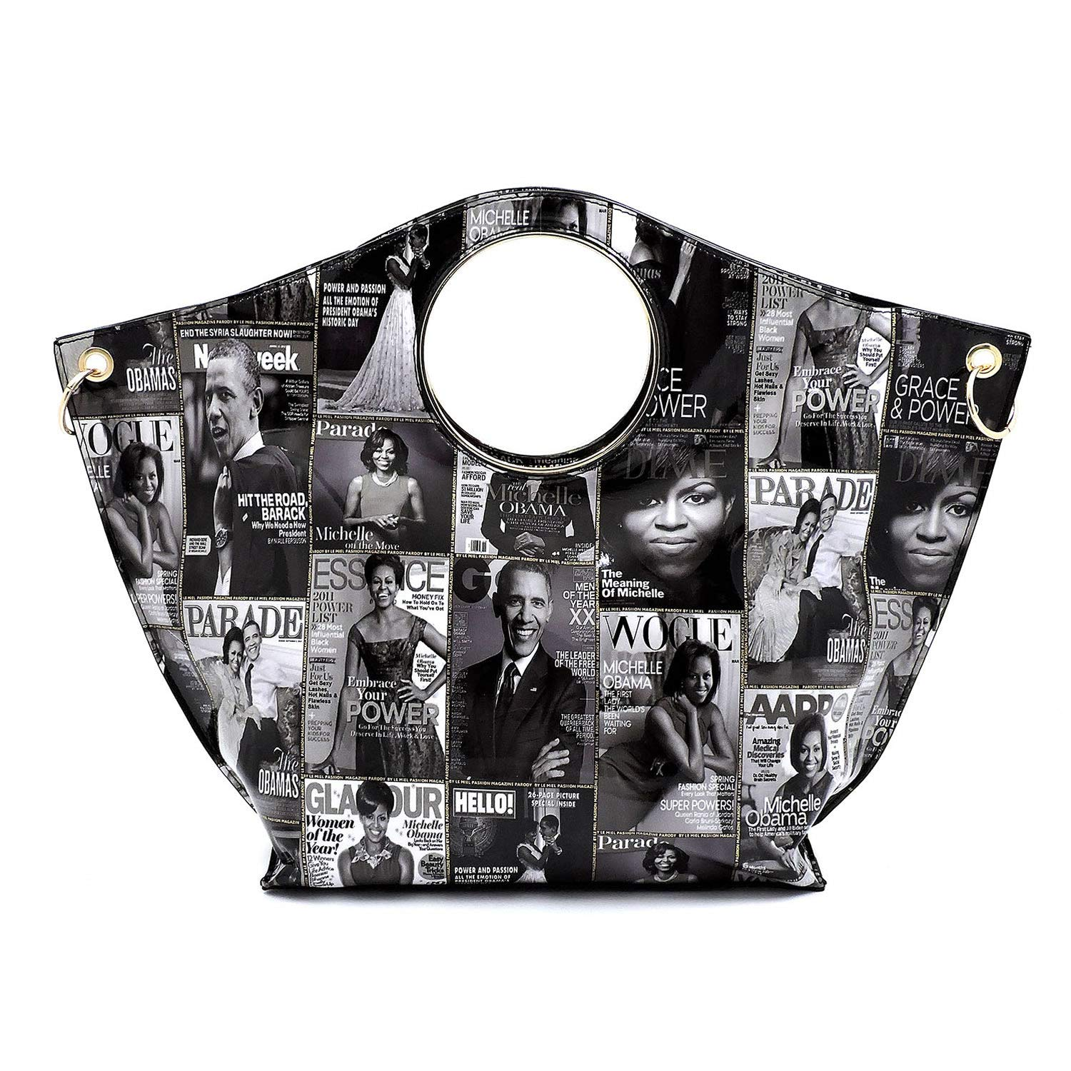 Tote 3pc Obama Print Collage Set Wallet Pull-out Crossbody