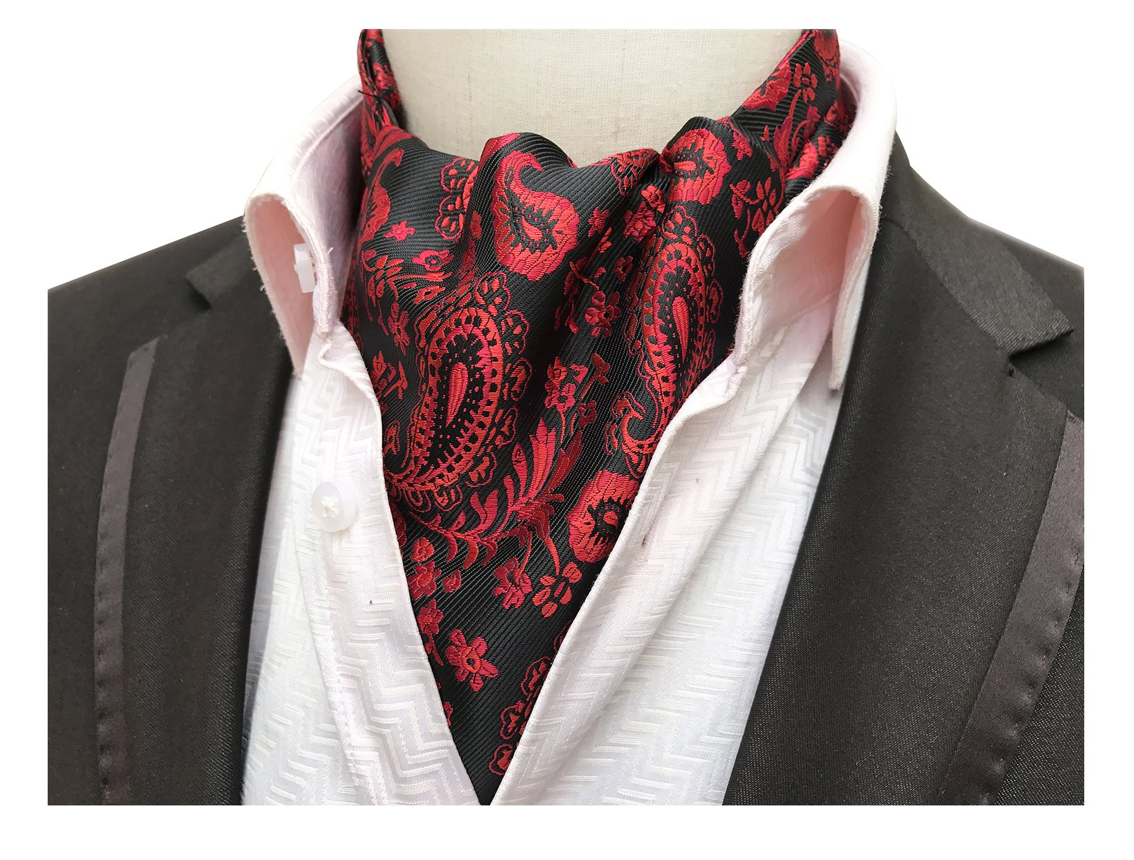 Elfeves Men's Black Red Floral Patterned Cravat Ties Jacquard Woven Ball Ascot