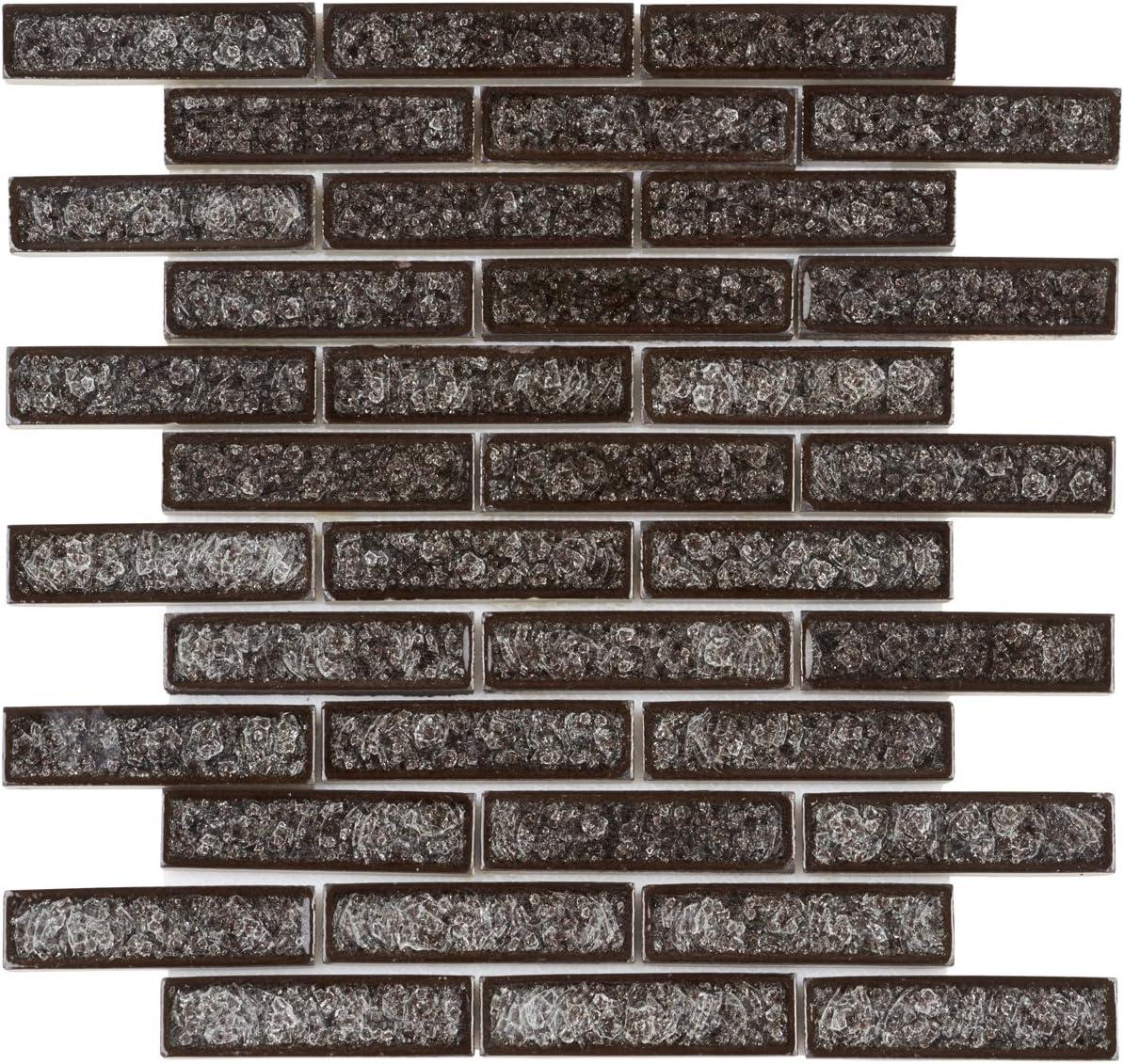 Modket TDH178MO-S Sample Gray Crackle Glass Mosaic Tile Brick Joint Pattern Backsplash