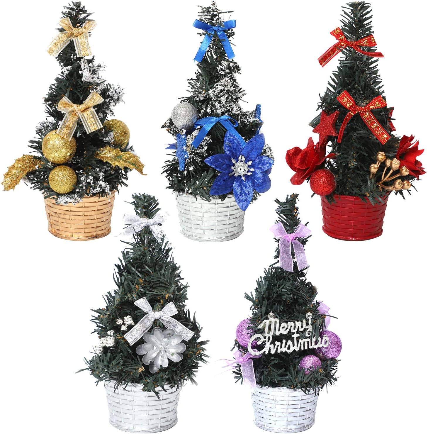 Aneco 5 Pack Tabletop Christmas Tree Office Desk Tree Small Christmas Tree for Christmas Decoration Office Ornament Gift