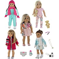 PZAS Toys 18 Inch Doll Clothes - 5 Winter Outfit Set with Accessories, Compatible with American Girl Doll Clothes and Accessories.