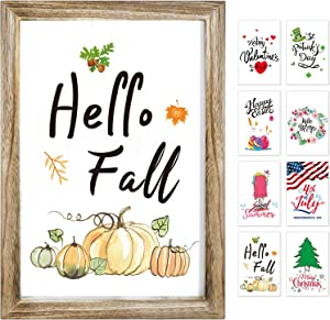 Farmhouse Wall Decor Sign With 8 Interchangeable Seasonal Sayings For holiday/Home Decor signs-summer decorations/fall decor for Home-Easy To Hang 11x16