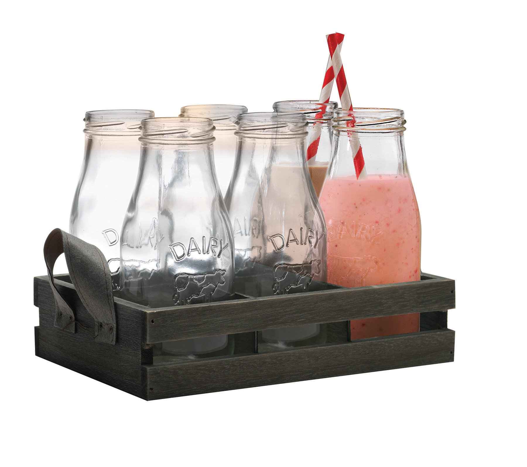 Circleware Country''Dairy'' Antique, Set of 13, Glass Milk Drink Bottles with Strong Straws and Wooden Tray, 10.5 Ounce, 6 Glass Bottles, 6 Straws 1 Wooden Tray, Limited Edition Glassware Drinkware by Circleware (Image #1)