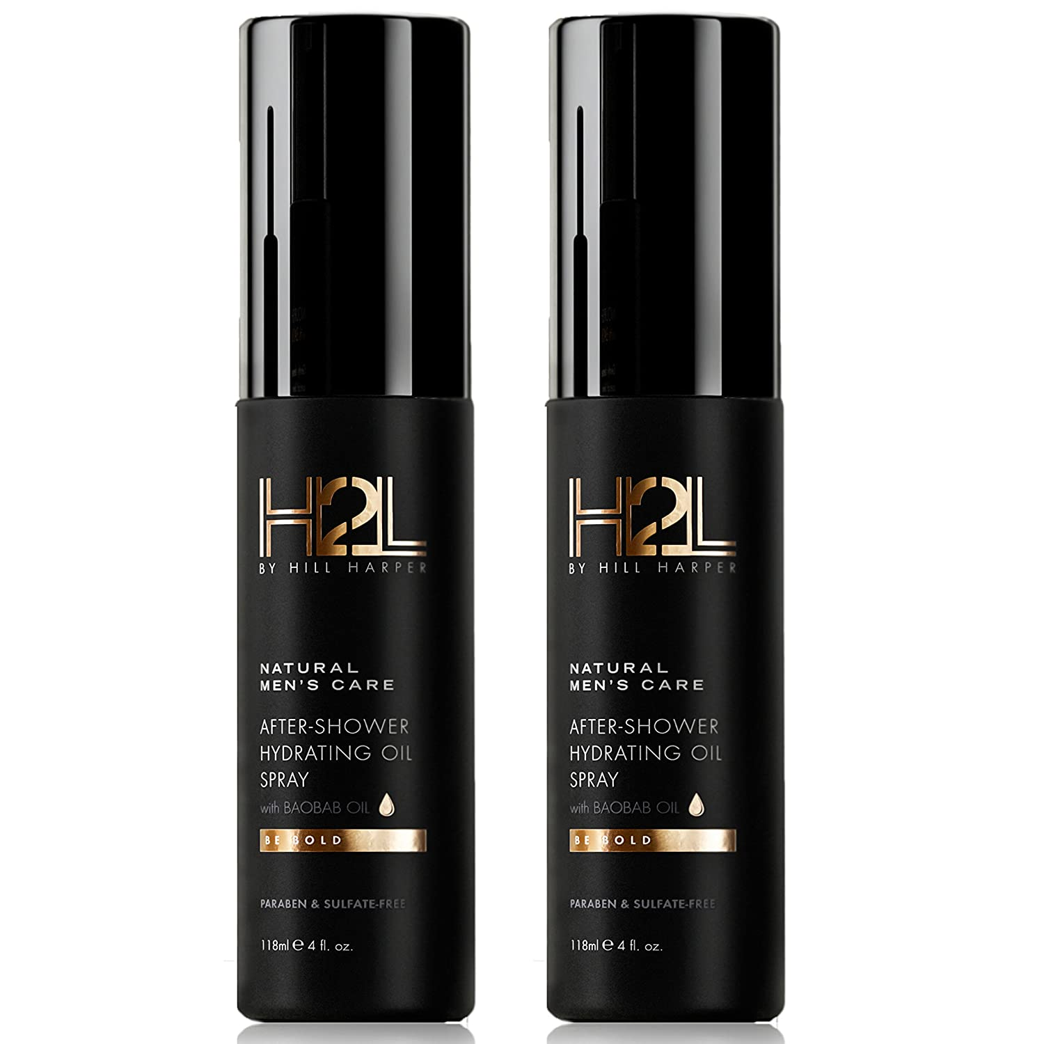 H2L Premium Natural After-Shower Hydrating Body Oil - With Baobab, Jojoba, Almond Oil. Formulated to Retain Moisture, Rejuvenate & Hydrate Skin. For Men By Hill Harper (2 Bottles)