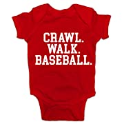 Southern Designs Crawl Walk Baseball Baby Romper (6 Month, Red)
