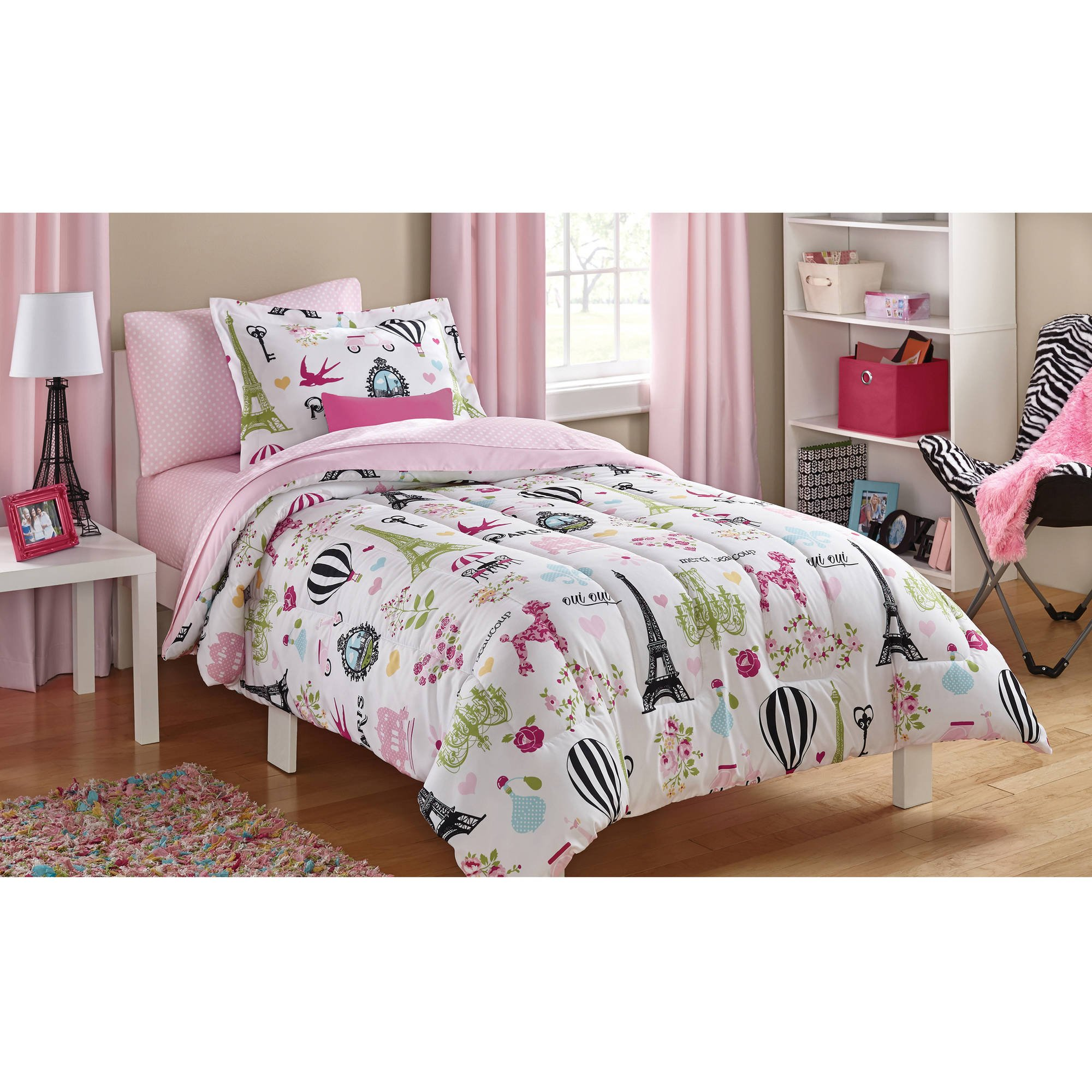 5 Piece Girls Pink Multi I Love Paris Comforter Twin Set with Sheets, All Over Girly France Inspired Bedding, Pretty Eiffel Tower Flowers Hot Air Balloon Poodle Dog Themed Pattern, Blue Green Yellow
