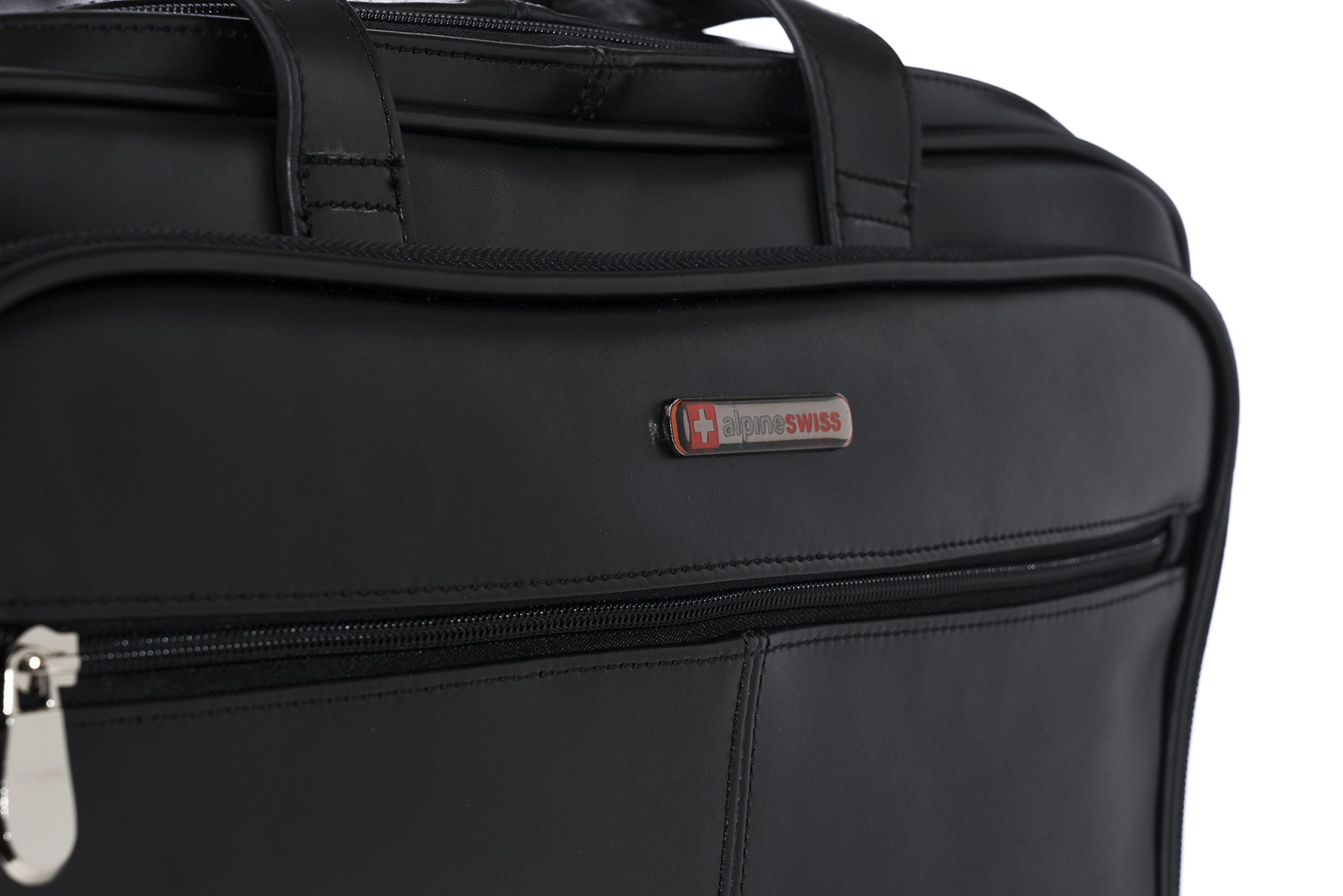 Alpine Swiss Monroe Leather Briefcase Top-Zip Laptop Messenger Bag Black by alpine swiss (Image #8)