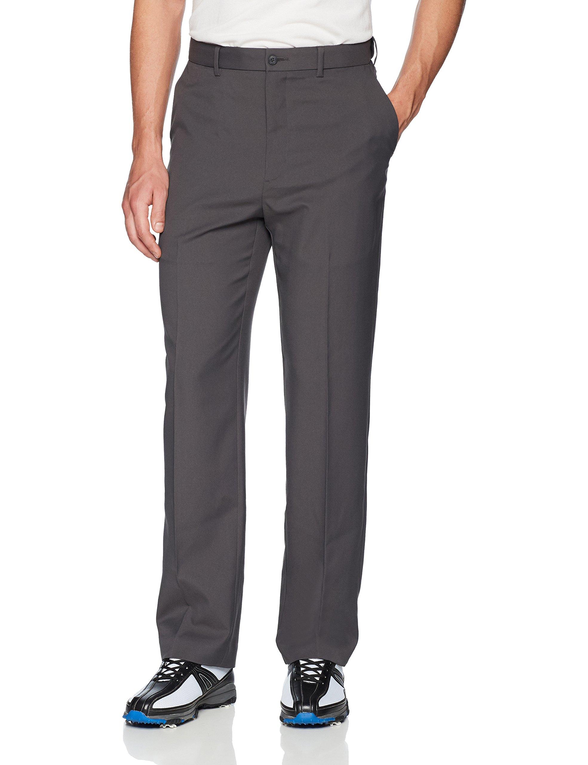 PGA TOUR Men's Flat Front Golf Pant with Expandable Waistband, Asphalt, 42W x 30L by PGA TOUR