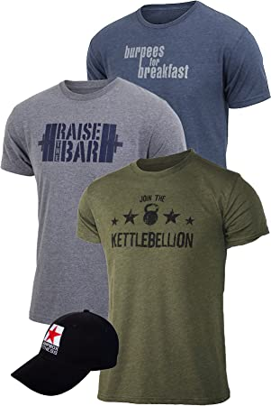 jumpbox Camiseta de Entrenamiento de Fitness para Hombre Bundle: 3 Tri Blend Camisetas + 1 Gorro, Gris Azul y Verde Militar, Hombre, Gris: Amazon.es: Deportes y aire libre