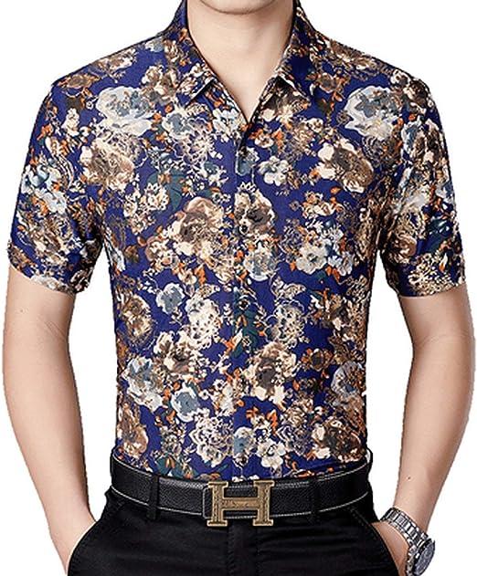 Camisa de Seda Floral bronceadora para Hombre 2019 de Manga Corta - - XXX-Large: Amazon.es: Ropa y accesorios
