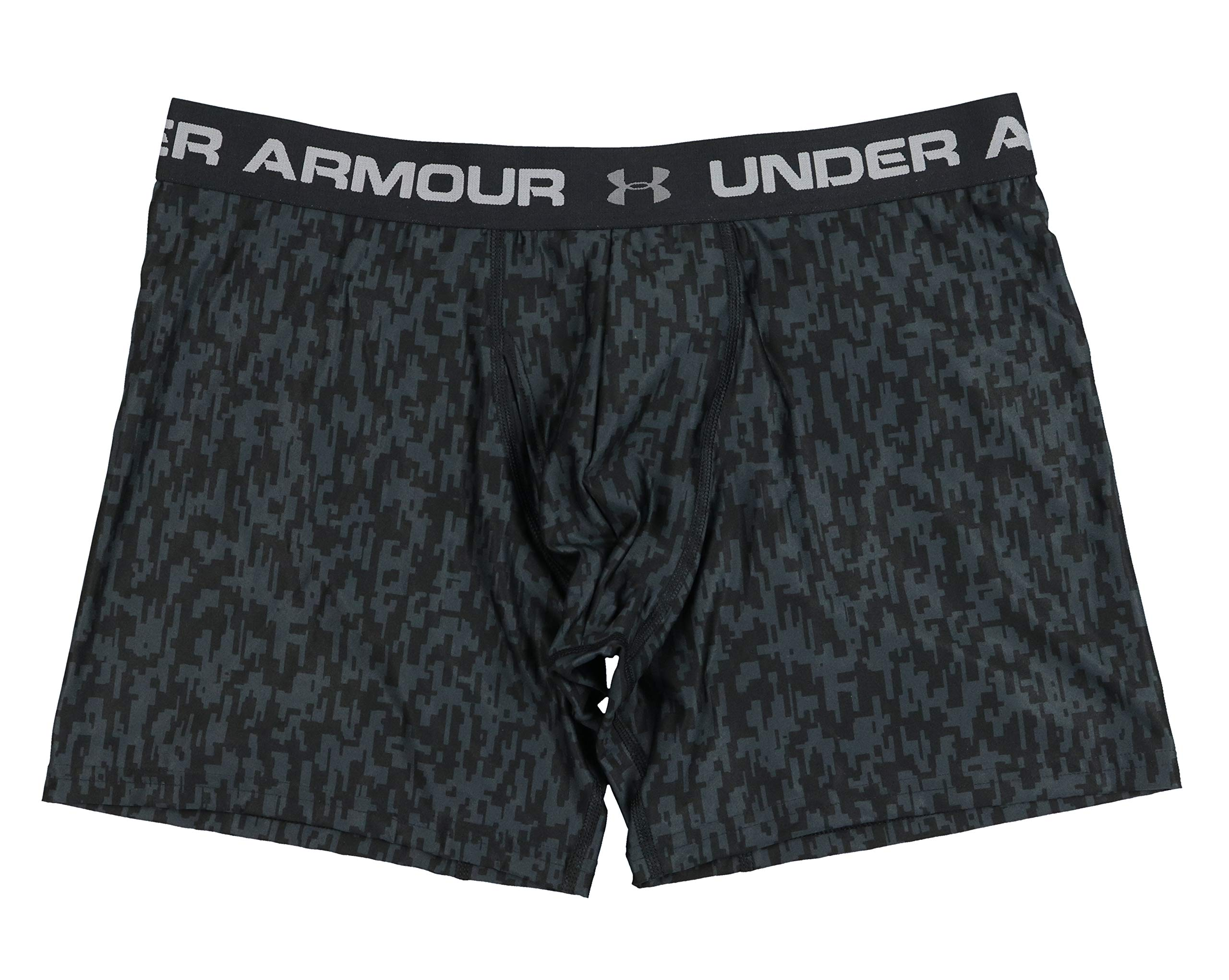 Under Armour Men's Printed Original 6'' Boxerjock Boxer Brief (Large, Black(1293960-004)/Grey) by Under Armour