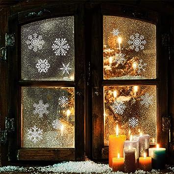 Heekpek 56 Stk Schneeflocken Selbstklebend Fensterschmuck