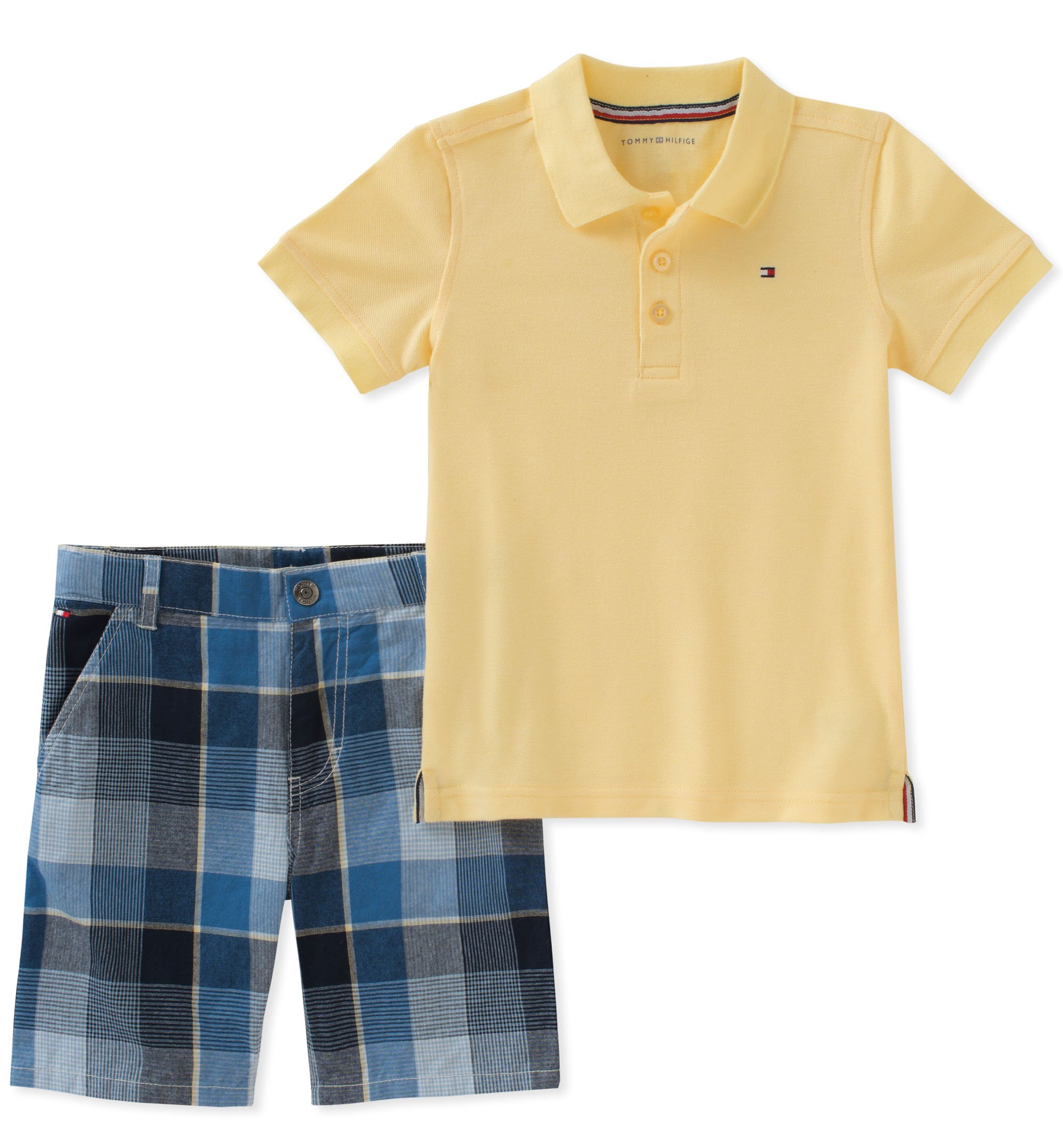 Tommy Hilfiger Boys' Toddler 2 Pieces Polo Shorts Set, Yellow, 2T