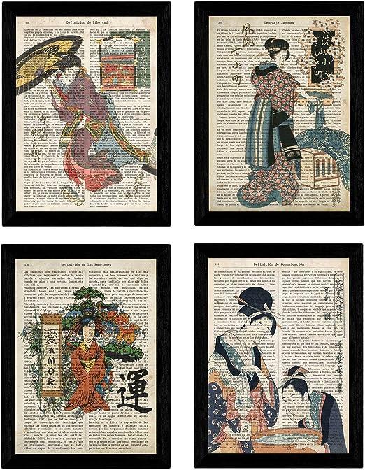 Pack de Cuatro láminas Vintage japonesas con definiciones lenguaje ...