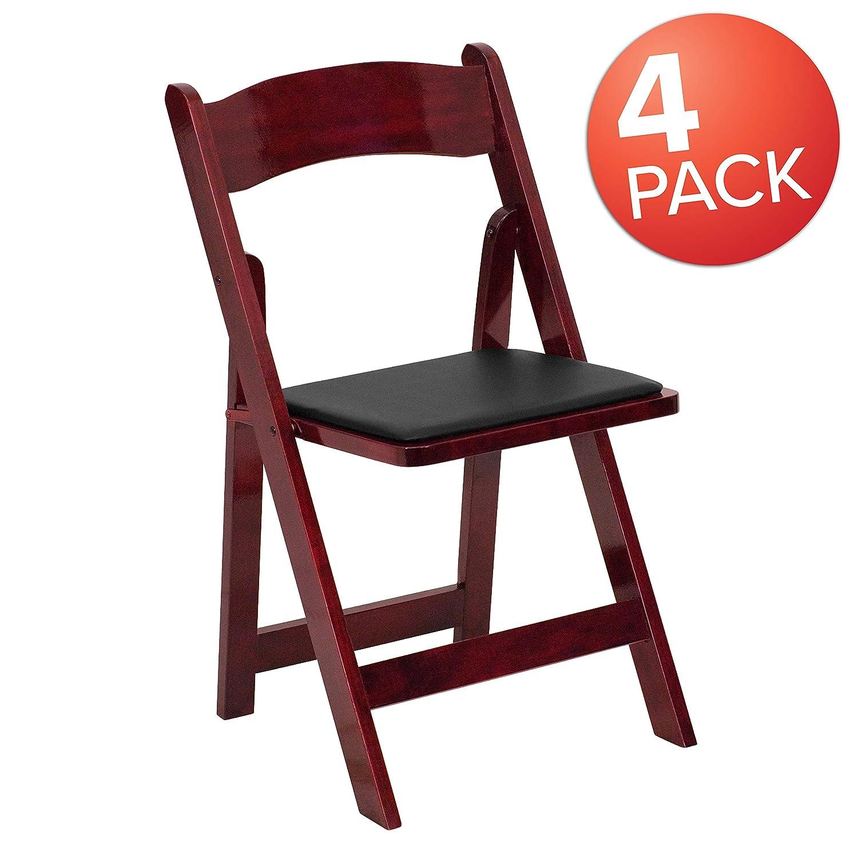 Mahogany 4 Pack Flash Furniture 4 Pk. HERCULES Series White Wood Folding Chair with Vinyl Padded Seat