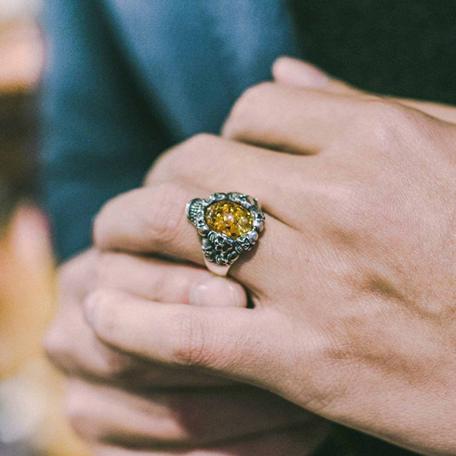 Adisaer Biker Rings Silver Ring for Men Skull Amber Ring Size 10.5 Vintage Punk Jewelry by Adisaer (Image #2)