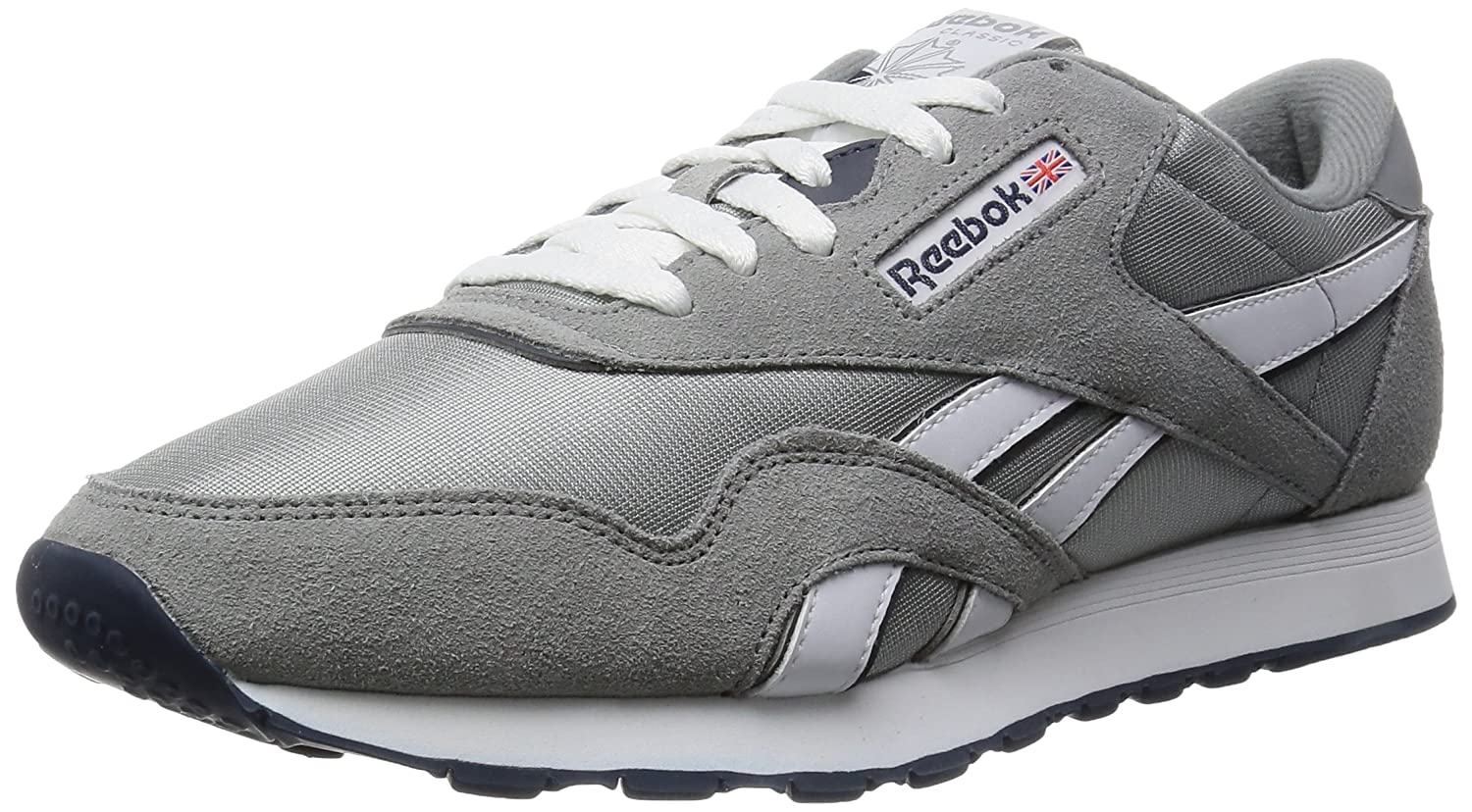 Grey (Platinum Jet bluee) Reebok Men's Classic Nylon Gymnastics shoes, White Light Grey, 6 UK 39 EU