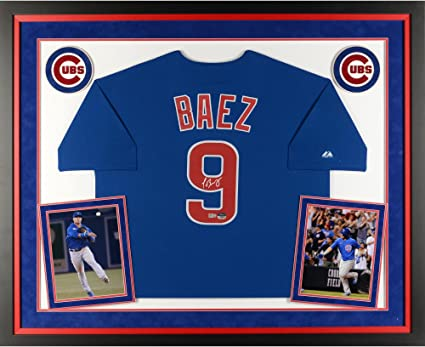 hot sales 5d6f3 50f4f Javier Baez Chicago Cubs Deluxe Framed Autographed Majestic ...