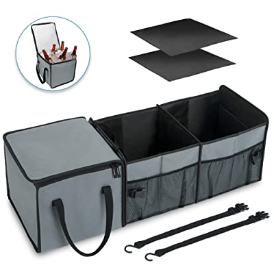Elantrip Car Organizer Cooler, Trunk Organizer with Insulation Bag, Foldable Heavy Duty Non-Slip with Straps for Suv Truck Van, Black and Gray: Home Improvement [5Bkhe2002103]