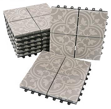 81691bdd9b012f BodenMax Zement Mosaik Click Bodenfliesen Set 30 x 30 cm Terrassenfliesen  Terrassenplatte Fliese grau weiß Klickfliesen (8 Stück 0.72 SQM ca.