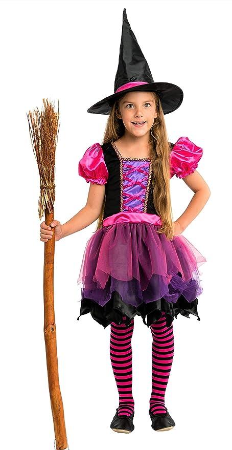 Magicoo Fee Halloween Hexenkostüm Kinder Mädchen inkl. Kleid & Hexenhut Gr. 92 bis 140 – Kostüm Hexe Kind pink lila schwarz (92104)