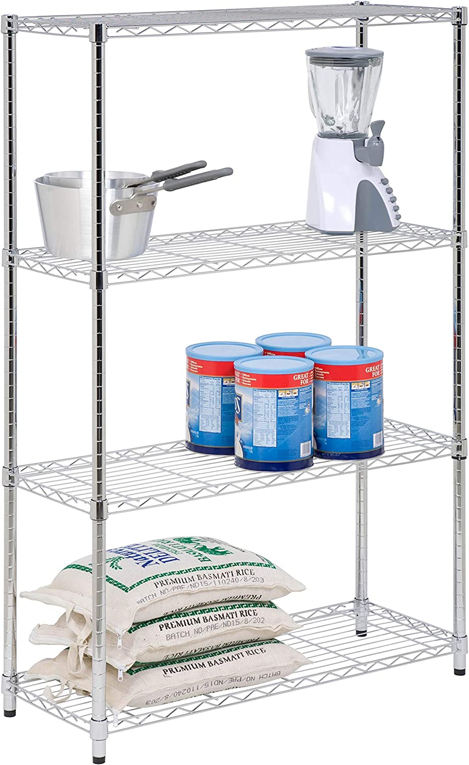 Honey-Can-Do SHF-01906 4-Tier Chrome Shelving unit-250 lbs, 4-Tier