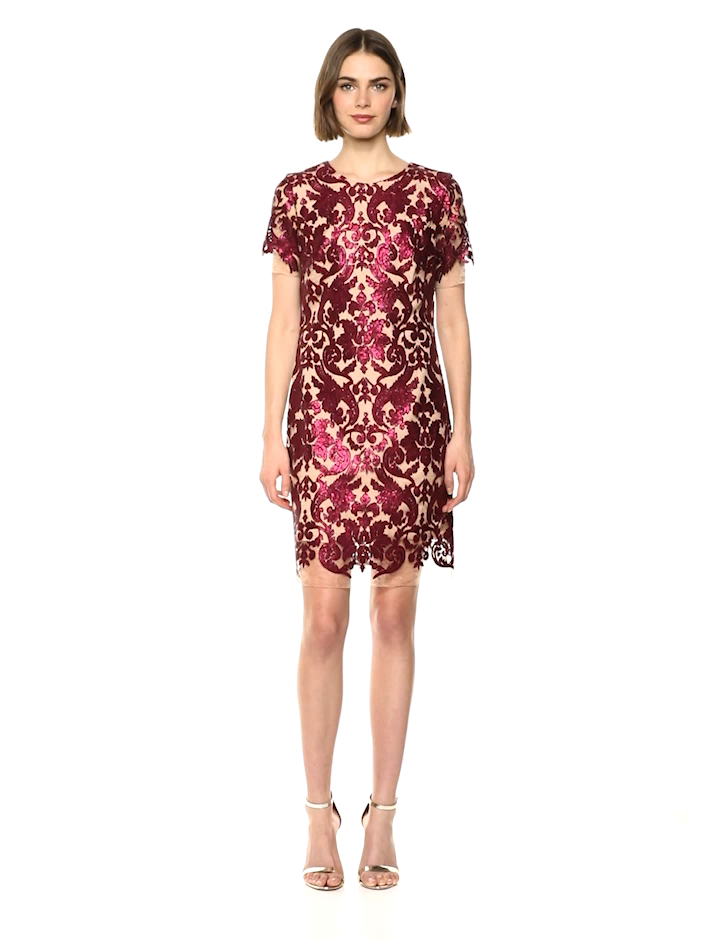bf93e3dc8f6 Dress the Population Women s Megan Short Sleeve Sequin Lace Mini Sheath  Dress at Amazon Women s Clothing store