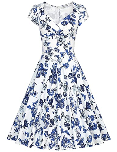 MUXXN Women's 50s Vintage Sexy Floral Cocktail Swing Dress