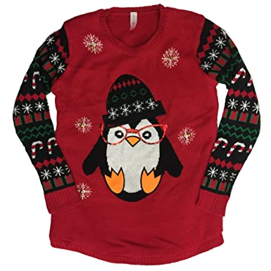 junior womens light up penguin christmas sweater hipster bird holiday pullover