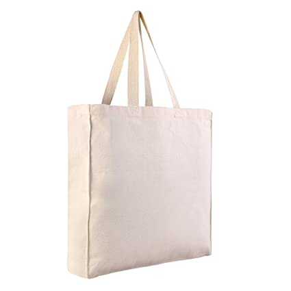 d26655e21c27 Thick Durable Canvas Wholesale Reusable Shopper Tote bags Bulk With Full  Side and