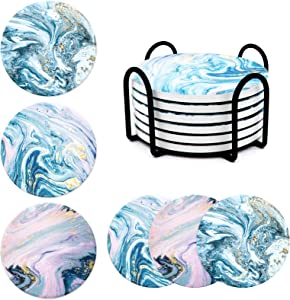 Absorbent Coasters for Drinks-Marble Gold Ocean Pattern Round Coaster Set with Cork Base, Metal Holder, Suitable for Kinds of Mugs and Cups Housewarming Gifts Apartment Kitchen Bar Décor, 6pcs Set