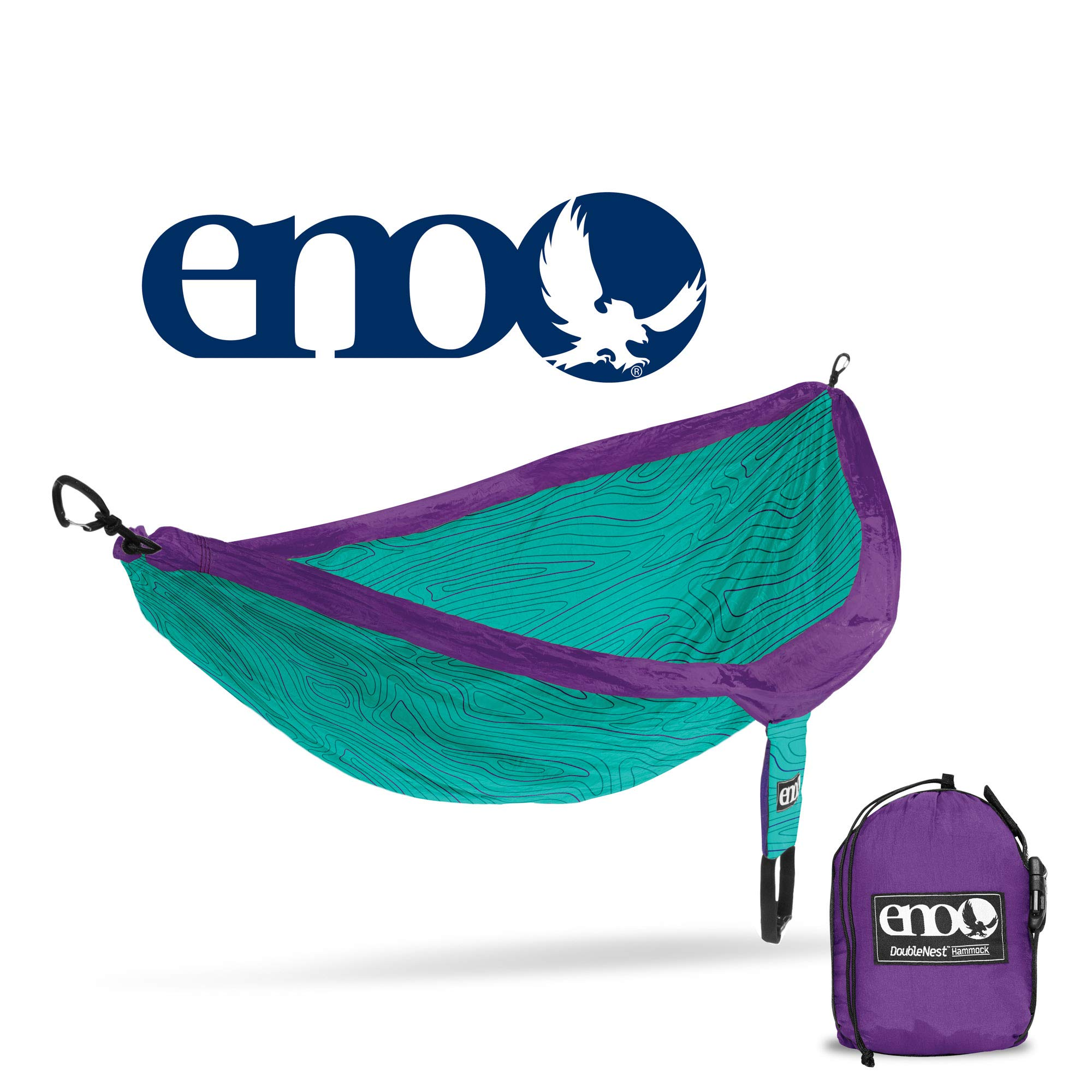 ENO - Eagles Nest Outfitters DoubleNest Print, Portable Hammock for Two, Woodgrain/Cyan