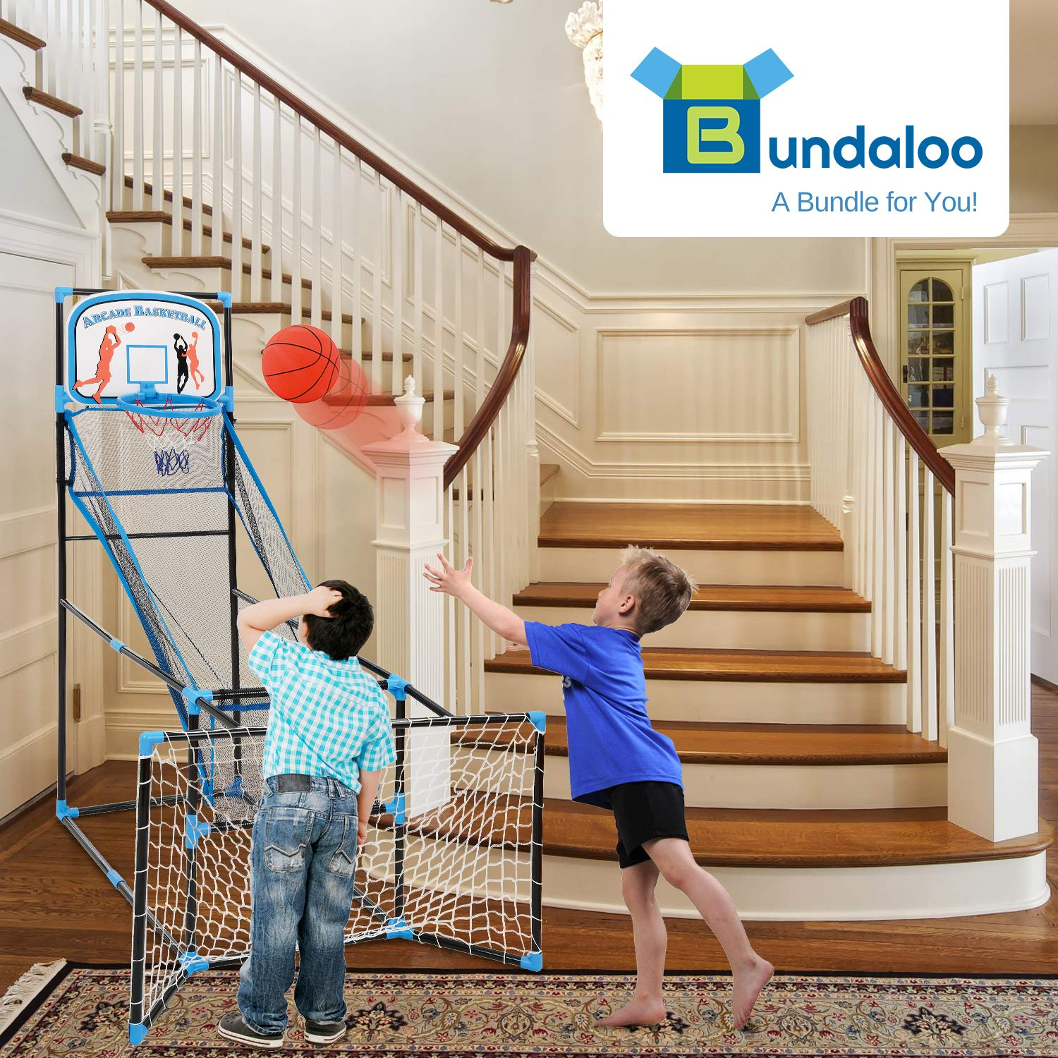 Bundaloo 3 in 1 Arcade Game | Basketball, Soccer, and Hockey Kids Toys | Fun Outdoor and Indoor Ball Games for Boys, Girls, Toddler | Includes 3 Balls, Backboard Hoop, Net Goal, Stick, and Air Pump by Bundaloo (Image #5)
