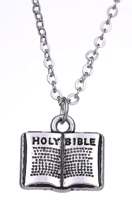 EUEAVAN Collar con Colgante de Libro de la Santa Biblia Hombre y Mujer y oración: Amazon.es: Joyería