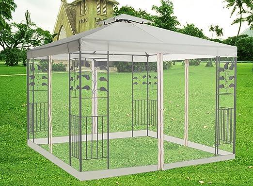 Greenbay 3 m pabellón Gazebo toldo protector de Vivienda de metal con libre lado Red, Ivory: Amazon.es: Jardín