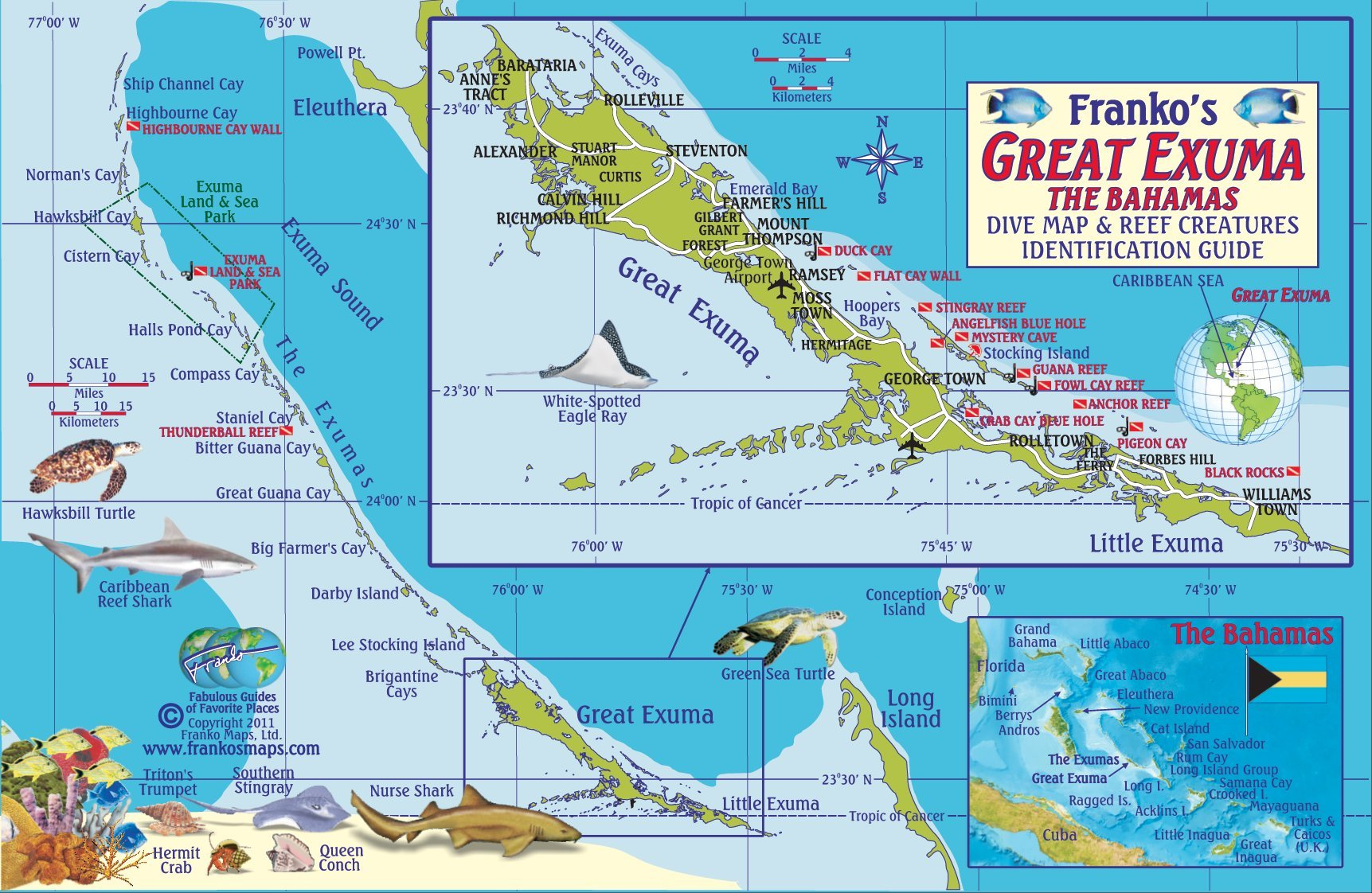 great exuma bahamas dive map  reef creatures guide franko maps laminatedfish card franko maps ltd  amazoncom books. great exuma bahamas dive map  reef creatures guide franko maps