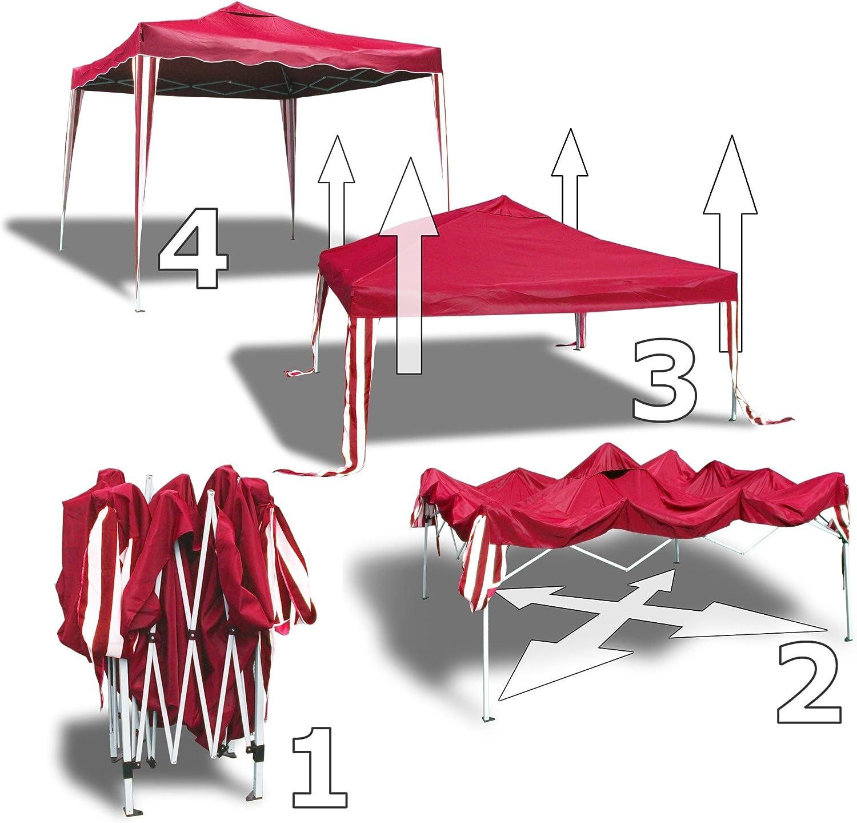 JOM pabellón de jardín Sylt II, Plegable, 3 x 3m, Techo Rojo, con ...