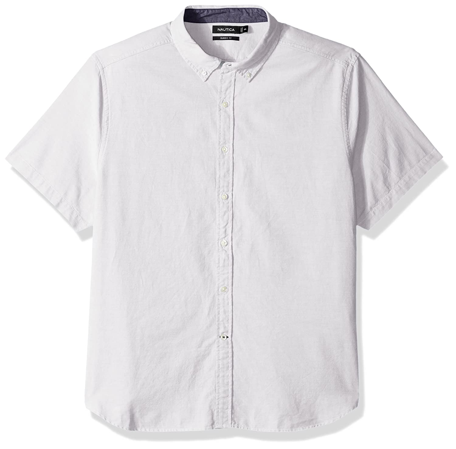 Nautica Mens Classic Fit Solid Oxford Short Sleeve Button Down
