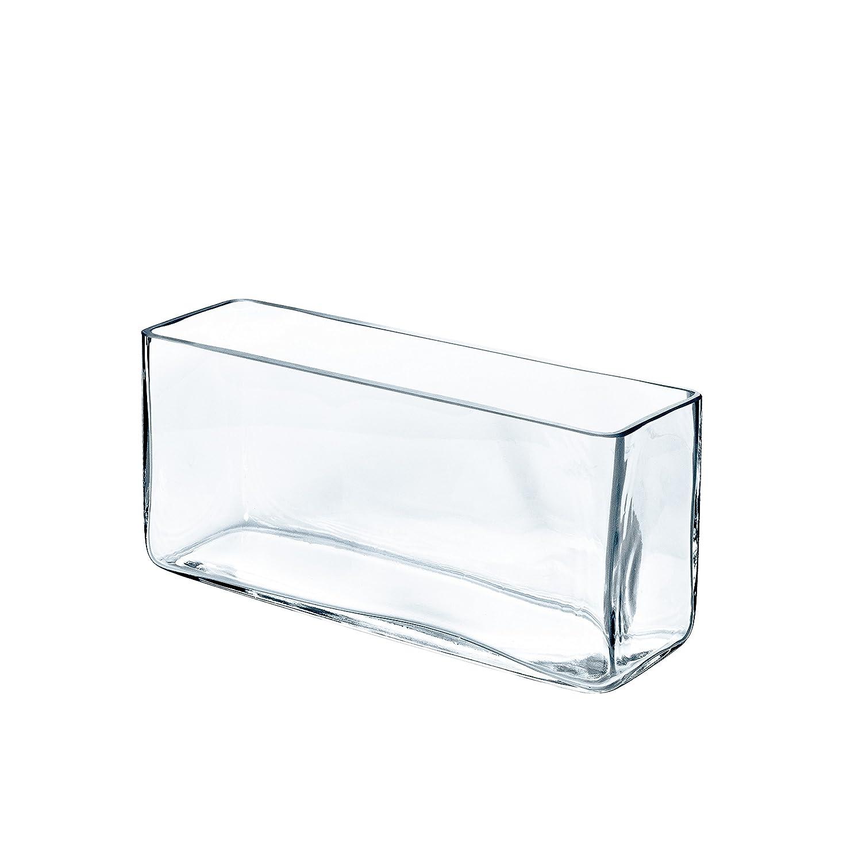 Vase rectangulaire JACK en verre transparent, 40x12 cm, 18 cm - Vase à fleurs / Vase carré - INNA Glas 18 cm - Vase à fleurs / Vase carré - INNA Glas