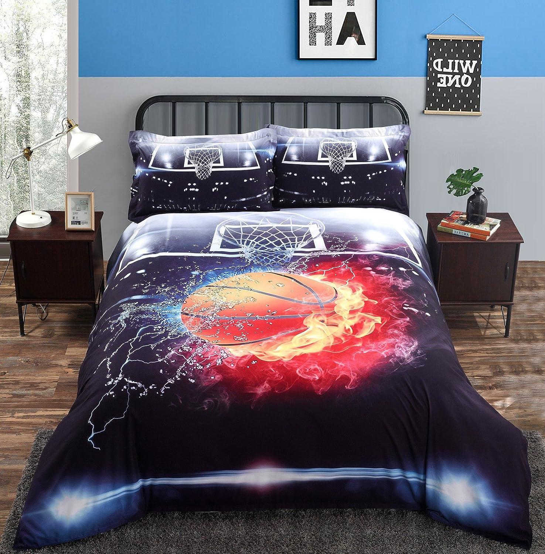 4ピースの寝具セット印刷3dバスケットFireボールコットン布団カバーセット クイーン グレー B075MHBBYFクイーン