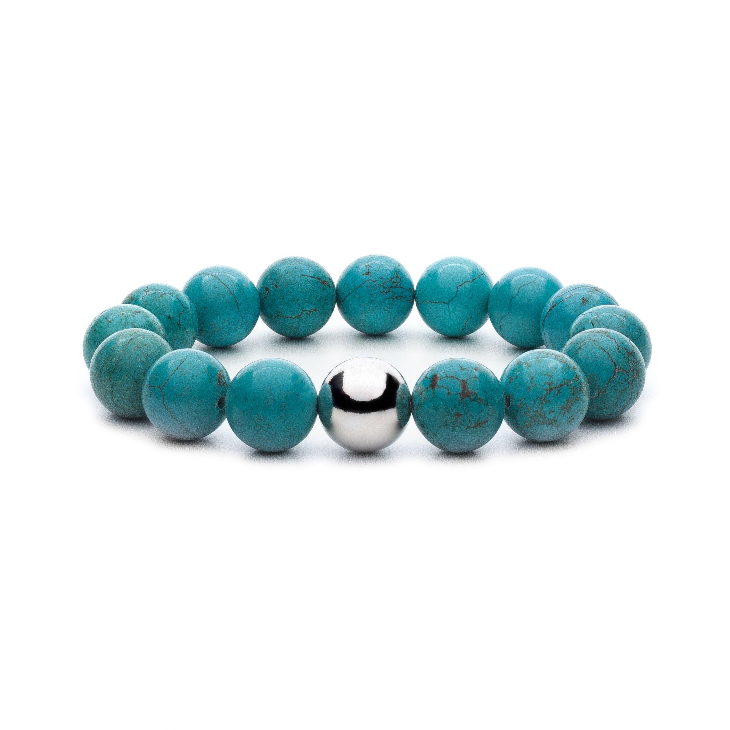 Asortis Women's Turquoise Howlite Sterling Silver Bead 12mm Stretch Bracelet