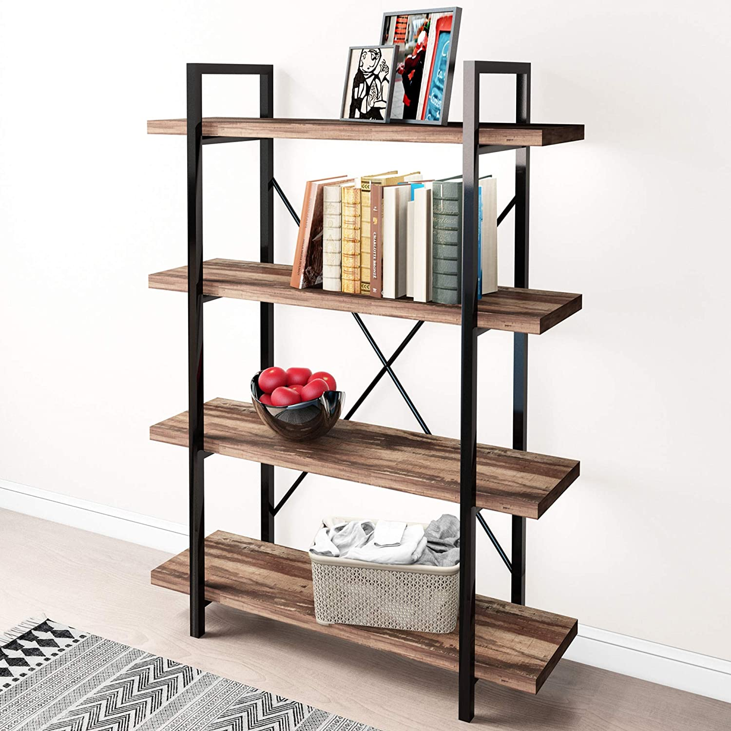 45MinST 4-Tier Vintage Industrial Style Bookcase/Metal and Wood Bookshelf Furniture for Collection,Vintage Brown, 3/4/5 Tier (4-Tier)
