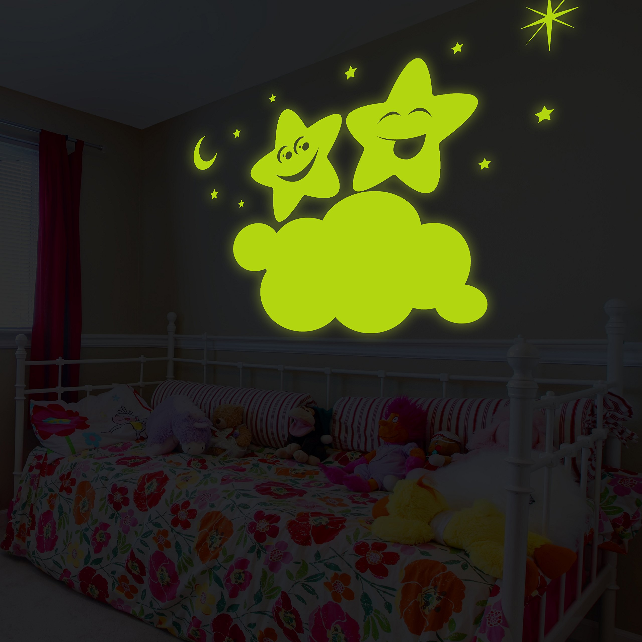 ( 63'' x 42'' ) Glowing Vinyl Wall Decal Twin Stars on Cloud / Glow in the Dark Sticker / Happy Star Luminescent Mural Kids, Baby Room + Free Decal Gift!