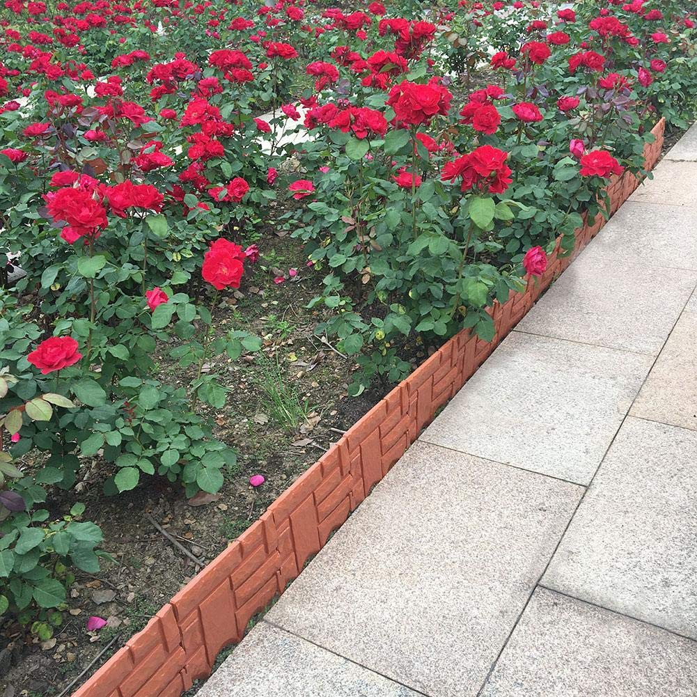 6Pcs//Set Instant Brick Effect Garden Border Artificial Plastic Two-Color Garden Small Fence Splicing Artificial Stone Garden Fence Quickly Inserted Into The Ground Lawn Edging in Brick