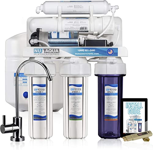 NU Aqua Platinum Series Deluxe High Capacity 100GPD 5-Stage Under Sink Reverse Osmosis Drinking Water Filter System With Booster Pump – Free Bonus PPM Meter and Installation DVD