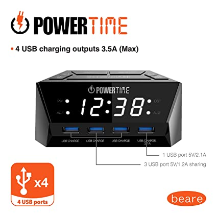 Amazon.com: BEARE Alarm Clock Charging Station - w/Quad USB Port for iPhone/iPad/iPod/Android Phone,Tablet and All USB-Charged Devices: Home Audio & Theater