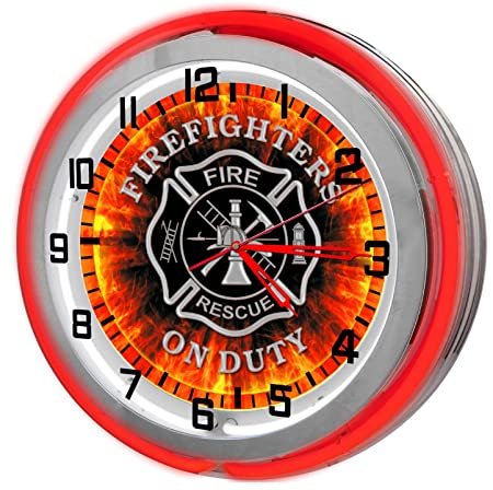 Redeye Laserworks Firefighter Red 18 Double Neon Garage Clock from