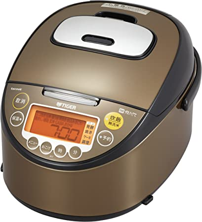 Tiger IH Rice Cooker, 5.5 Cups, Brown, Recipe Included, Cooked Rice Jar JKT-J100-XT Tiger