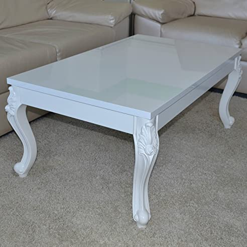 Euro Tische Couchtisch 120x70x44 Cm, Weiß Lackiert Hochglanz, Wohnzimmer  Tisch Sofatisch Beistelltisch,