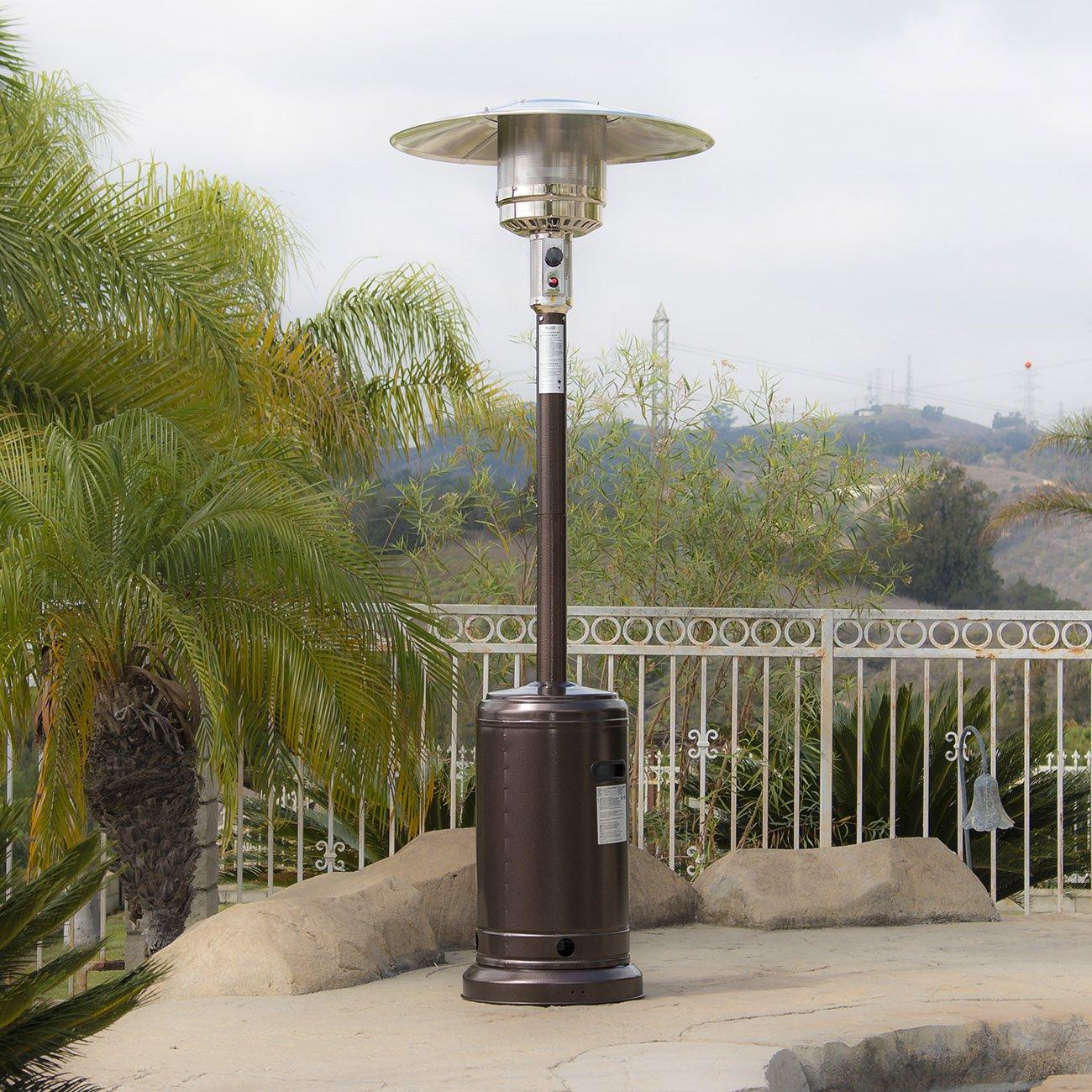 Belleze 48,000BTU Premium Outdoor Patio Heater with Wheel LP Propane Heat CSA Certified, Hammered Bronze by Belleze